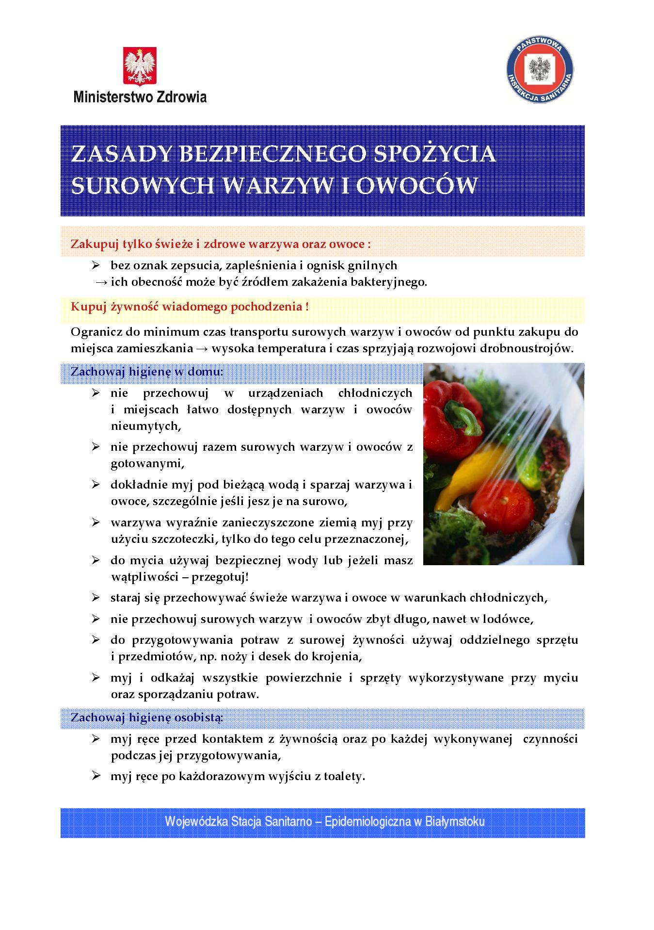 zasady bezpiecznego spożycia surowych warzyw i owoców