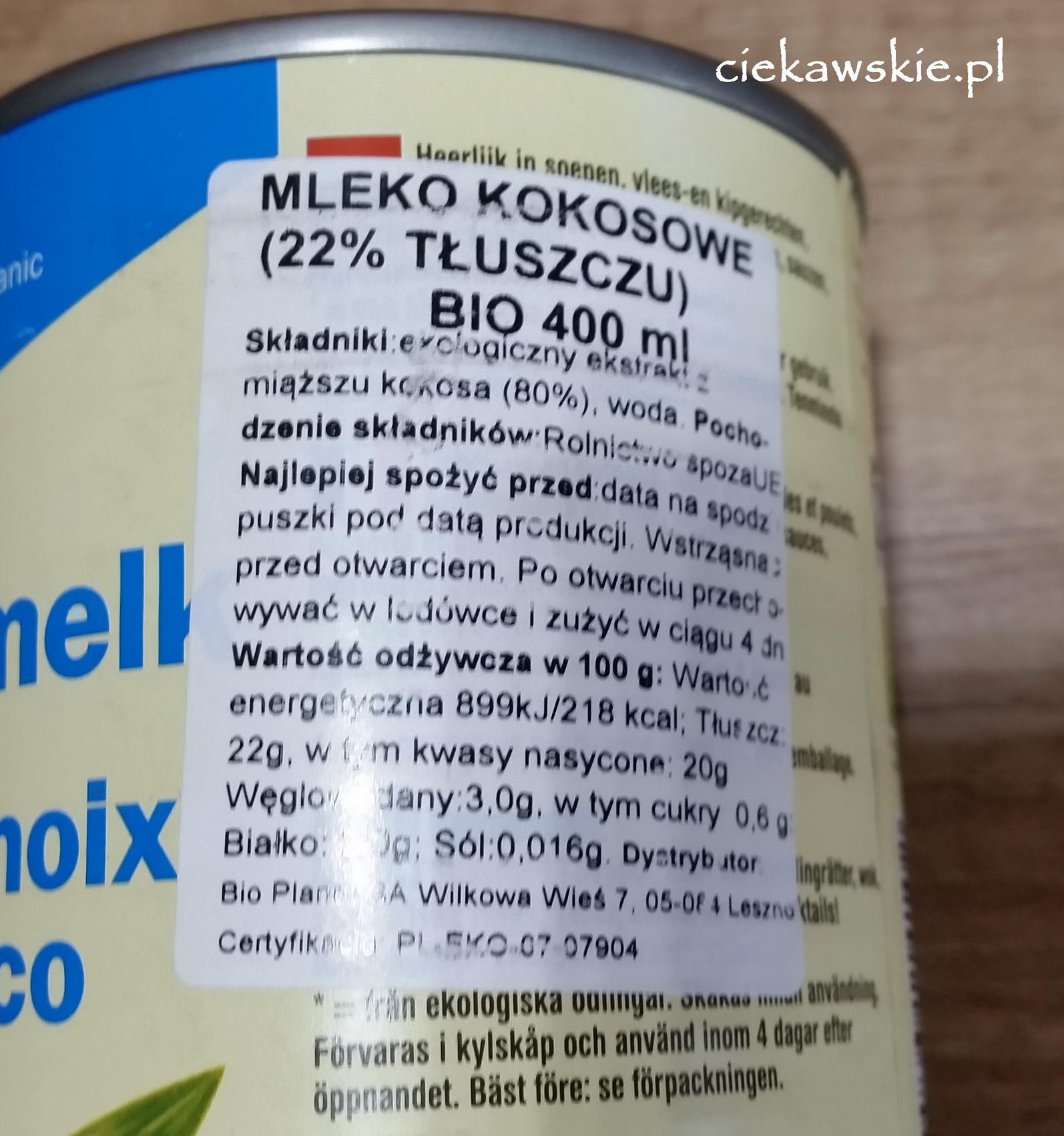 mleko kokosowe skład terrasana